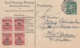 DR Karte EF Minr.356 Weimar 14.10.24 Und 4 Vignetten Briefmarkenhaus Karl Hennig Weimar - Deutschland