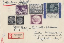DR R-Brief Mif Minr.810,811.812,776,Zdr. Minr.K21 München-Riem Rennplatz 26.7.42 - Deutschland