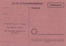 DR Postkarte Gebührenfrei Nur Für Wehrmachtsangehörige Nicht Gelaufen - Briefe U. Dokumente