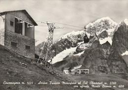 5707.   Courmayeur - Arrivo Funivia Monofune Al Col Checrouit Con Sfondo Monte Bianco - FG - 1961 - Altre Città
