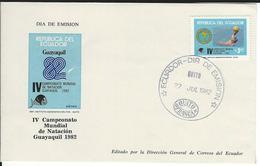 Ecuador Mi 1933 FDC Schwimm-WM 1982 - Natación