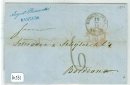 HANDGESCHREVEN BRIEF Uit 1865 Van HAMBURG DEUTSCHLAND Naar BORDEAUX FRANCE (10.531) - Hambourg