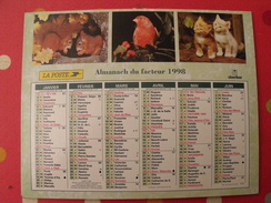 Calendrier Illustré En Carton De 1998. Almanach Des PTT Postes Facteur. Obetrhur. écureuil Chat Cheval Chien Faon - Calendriers