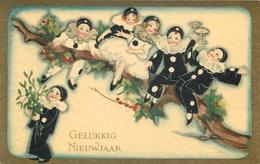 GELUKKIG NIEUWJAAR - CHIOSTRI - BABY PIERROT - VINTAGE ORIGINAL POSTCARD - Nouvel An