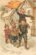 BONNE ANNEE - CHILDREN WELCOME THE NEW YEAR - 1909 - PFB 5456 - EMBOSSED VINTAGE ORIGINAL POSTCARD - Nouvel An