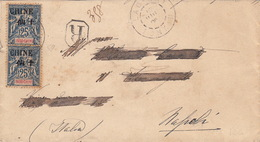 Lettre Recommandée Tonkin Lao-Kay Pour Naples Timbres Surcharge Chine - Indochine (1889-1945)