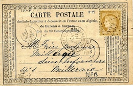 1873- C P A Précurseur Affr. N°55 Oblit.  G C 233  Cad T 17 D'AURAY ( Morbihan ) - Storia Postale