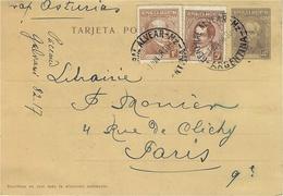 """1938- C P E P 4 C.  + Complèment 6 C.  Oblit. Général Alvéar  """" Vap. Asturias """"  Pour Paris - Covers & Documents"""