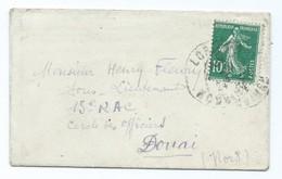 2405 - Mignonette Semeuse 1924 Cachet Lorient Pour Cercle Des Officiers 15ème RAC Douai Fleury LEOPOLD SAURIN - Postmark Collection (Covers)