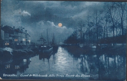 Carte à La Lune - Bruxelles  Canal De Willebroeck Barge Peniche Binnenvaart Maanlicht Volle Maan Moonlight Full Moon CPA - Bruxelles La Nuit