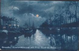 Carte à La Lune  Bruxelles Canal De Willebroeck Barge Peniche Binnenvaart Maanlicht Volle Maan Moonlight Full Moon CPA - Brussel Bij Nacht