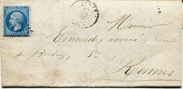 ILLE ET VILAINE De JANZE GC 1859 Sur N°22 Sur LAC Du 12/10/1867 - Poststempel (Briefe)