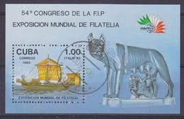 Cuba 1985 Italia '85 / Congreso De La F.I.P. M/s Used (34169) - Blokken & Velletjes