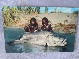 KENYA . 2 ENFANTS ET UN GROS POISSON - Kenya