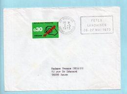 77 Provins - Fêtes Landaises 26-27 Mai 1973. (38896) - Oblitérations Mécaniques (flammes)