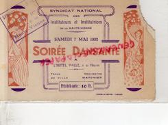 "87 -LIMOGES - CHAUSSURES ""A LA BOTTE ROUGE "" RARE CARTE SYNDICAT INSTITUTEURS HTE VIENNE-SOIREE HOTEL VIALLE-1932- BAL - France"