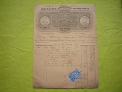 Belle Facture Illustrée  1875 Quincaillerie Miroiterie D. Champeyrache à Alais Gard TP Fiscal - France