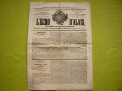 Journal L'Echo D'Alais 19 Mai 1844 Hebdomadaire N°168 - 1800 - 1849