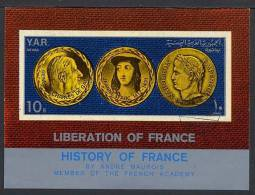 YEMEN ARABE REPUBLIQUE 1969, DE GAULLE, JEANNE D´ARC, NAPOLEON, 1 Bloc, NON DENTELE, Oblitéré. RbDG - De Gaulle (Generaal)