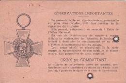 CARTE DU COMBATTANT - 1954 CROIX DU COMBATTANT - Documents