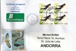 Hirondelles De Cheminée, Bloc De 4 Du DANEMARK, Sur Lettre Adressée ANDORRA,avec Timbre à Date Arrivée