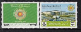 Myanmar 2014 Chairmanship Of ASEAN 2v Mint MNH - Myanmar (Burma 1948-...)