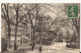 9116. CPA PARIS. LE PARC DE MONTSOURIS ET LA RUE DE NANSOUTY. - Arrondissement: 14