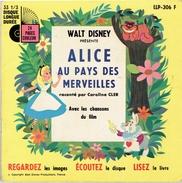 ALICE AU PAYS DES MERVEILLES 1968 WALT DISNEY LIVRET DE 24 PAGES ILLUSTREES DISQUE 33 TOURS CAROLINE CLER CHANSONS FILM - Disques & CD