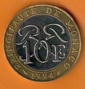 Nu-Monaco - 10 Francs De La Principauté De Monaco De 1994 - 1960-2001 Nouveaux Francs