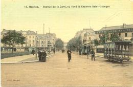 35/CPA A - Rennes - Avenue De La GAre, Au Fond La Caserne Saint Georges (belle Carte Toilée) - Rennes