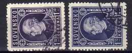 Slowakei / Slovaki, 1942/43, Mi 97 A + B, Gestempelt [181216IV] - Slovakia