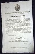 Editto Regio Governo Di Venezia (tariffe Postali E Diligenze) 1842 - Lot.6 - Historical Documents