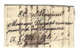 """Chalons-sur-Marne, Lettre 20 Mai 1827, Cachet Port Dû 39x15x4, """"42 / CHAALONS / SUR-MARNE"""" - 1801-1848: Precursori XIX"""