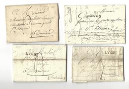 Lyon, Lot De Quatre Lettres De 1823, Cachet Port Dû 22x12x5 [lyon1] - 1801-1848: Voorlopers XIX