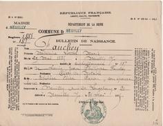 Neuilly Sur Seine - Bulletin De Naissance - 29 Mai 1885 - Famille Fauchez - Documents Historiques