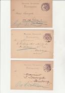 5 ENTIERS ALLEMAND  OBLITERES CAD VILLES ALSACE  BISCHWILLER-MUTZIG-STRASBOURG-SELESTAT -GUEBWILLER - ANNEE 1878 A 1877 - Alsace-Lorraine
