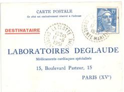 3670 LA CLOTTE Charente Maritime 17 Carte Postale DEGLAUDE Gandon 15F Bleu Yv 886 Ob1951 Recette Distribution Lautier B7 - Postmark Collection (Covers)