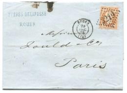 S N° 23 ORANGE NAPOLEON ROUEN  POUR PARIS 1863 - Marcophilie (Lettres)