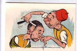 """Maroc BRUZON Caricature """"Le Coiffeur"""" Rabat 1948 - Illustrateurs & Photographes"""