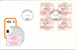 Finland FDC Karleby 1-6-1993 Set Of 4 FRAMA Labels (42) With Cachet - ATM - Frama (vignette)