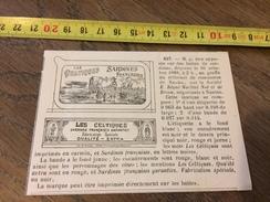 MARQUE DEPOSEE 1888 SARDINES LES CELTIQUES BEGUE MARTIAL NOE DE BROCA A NANTES - Vieux Papiers