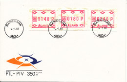 Aland FDC Mariehamn 4-1-1988 Set Of 3 FRAMA Labels - ATM - Frama (vignette)