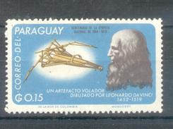 PARAGUAY - UN ARTEFACTO VOLADOR DIBUJADO POR LEONARDO DA VINCI (1452-1519) MNH TIMBRE AÑO 1966 PRECURSOR HELICOPTERO - Paraguay