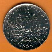 Nu-France - 5 Francs Semeuse Nickel 1995, Ve République, SUP - France
