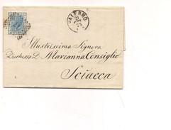 1613) 1873 Lettera Palermo Sciacca 20c Bigola Isolato Interessante Testo - 1861-78 Vittorio Emanuele II