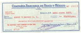 3681 Chéque COMPANIA BANCARIA  De PARIS Y MEXICO   Mai 1927 - Other