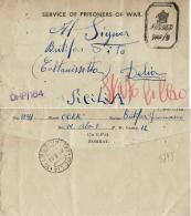 BIGLIETTO CAMPO PRIGIONIERI INDIA POW CAMP 12 BHOPAL 1944 X DELIA - 1900-44 Vittorio Emanuele III