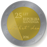 "ESLOVENIA / SLOVENIA  2€  2.016 2016 BIMETALICA  SC/UNC ""25º Aniversario De La Independencia De Eslovenia""   T-DL-1 - Eslovenia"