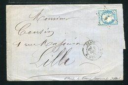 Rare Lettre De Paris Pour Lille 1871 - Etoile 4 Grand Logement - 1849-1876: Classic Period