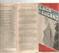 Suisse -Italie- Dépliant Touristique -Lago Di Lugano;Ferrovie,menaggio Porlezza,Ponte-Tresa-Luino; 1885 - Folletos Turísticos